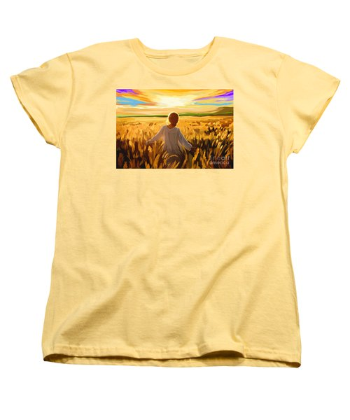 Woman In A Wheat Field Women's T-Shirt (Standard Cut)