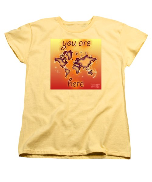 World Map You Are Here Amuza In Red Yellow And Orange Women's T-Shirt (Standard Cut) by Eleven Corners