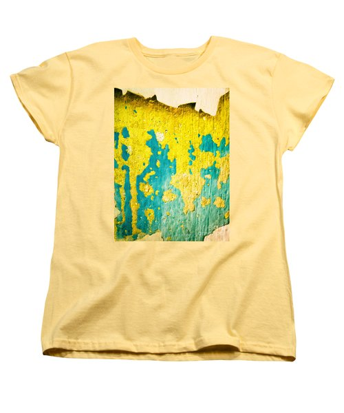 Women's T-Shirt (Standard Cut) featuring the photograph Yellow And Green Abstract Wall by Silvia Ganora