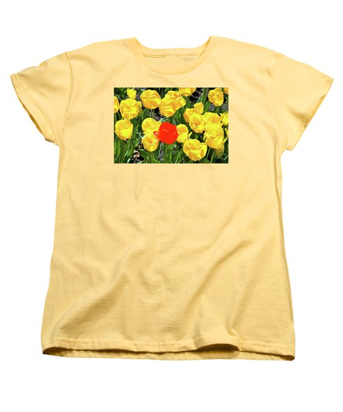 Yellow And One Red Tulip Women's T-Shirt (Standard Cut) by Ed  Riche