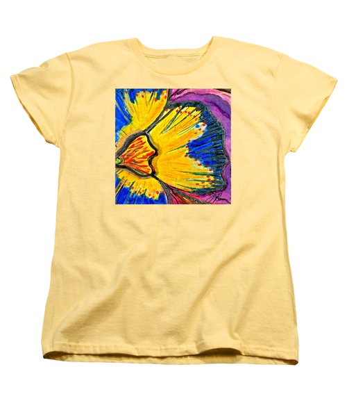Women's T-Shirt (Standard Cut) featuring the painting Yellow Blue Flower by Joan Reese