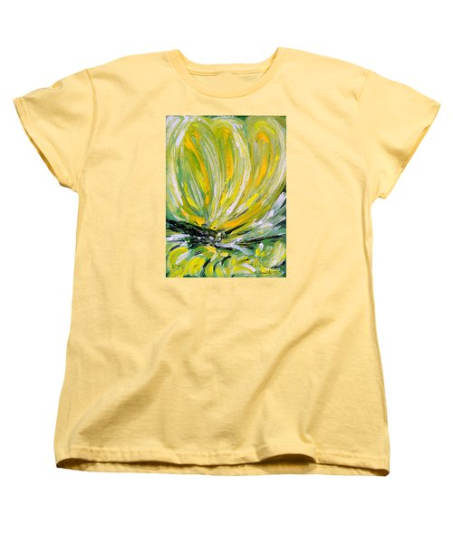 Women's T-Shirt (Standard Cut) featuring the painting Yellow Butterfly by Jasna Dragun