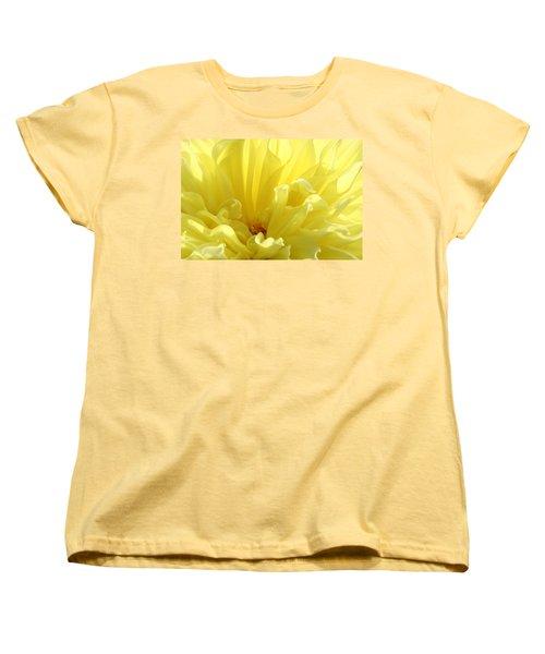 Yellow Dahlia Burst Women's T-Shirt (Standard Cut) by Ben and Raisa Gertsberg