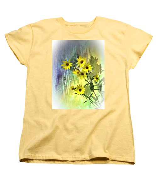 Yellow Daisies Women's T-Shirt (Standard Cut) by Judy  Johnson