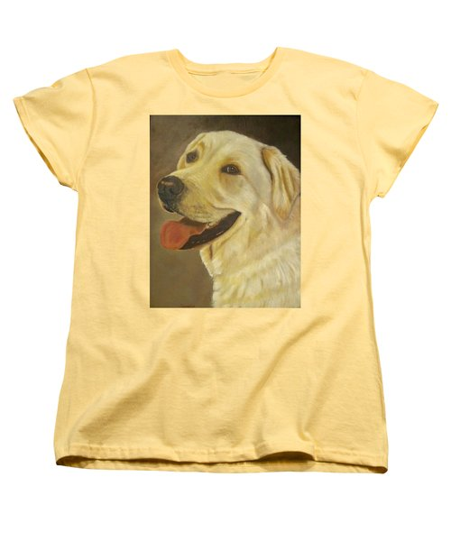 Women's T-Shirt (Standard Cut) featuring the painting Yellow Lab by Sharon Schultz