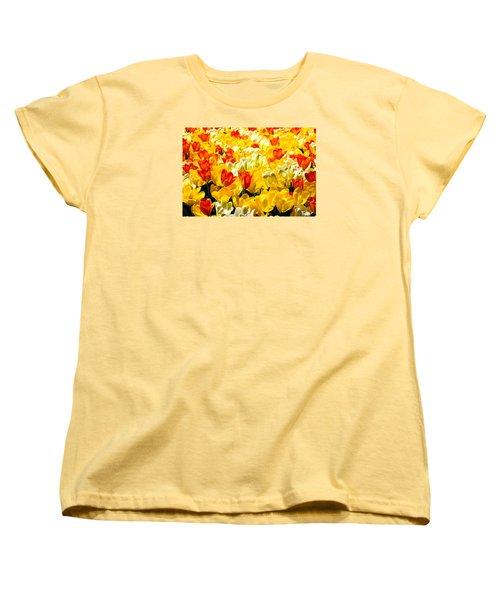 Yellow Red And White Tulips Women's T-Shirt (Standard Cut) by Menachem Ganon