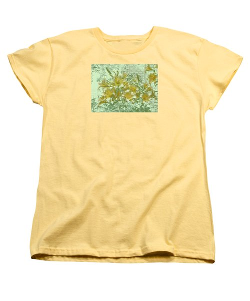 Women's T-Shirt (Standard Cut) featuring the photograph Yellow Stargazers On Soft Green by Tom Wurl