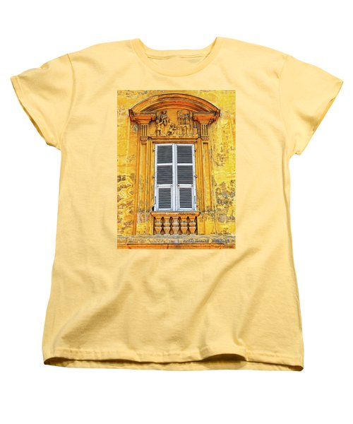Women's T-Shirt (Standard Cut) featuring the photograph Yellow Window Nice France by Dave Mills