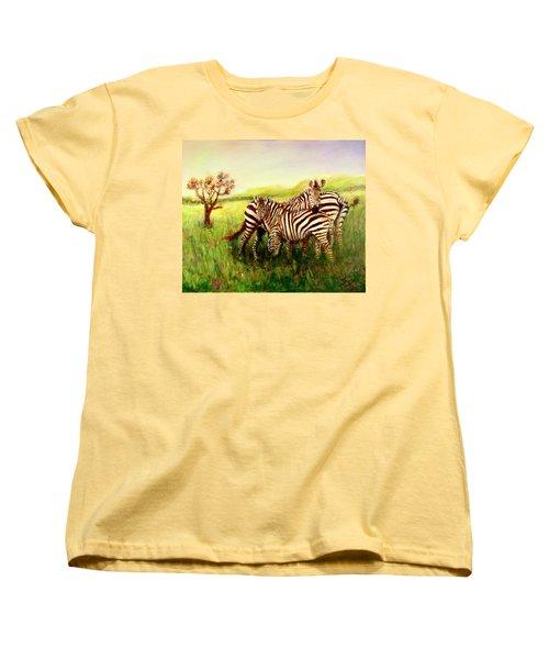 Zebras At Ngorongoro Crater Women's T-Shirt (Standard Cut) by Sher Nasser