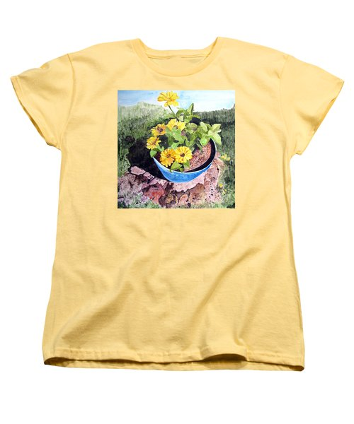 Women's T-Shirt (Standard Cut) featuring the painting Zinnia On A Tree Stump by Sandy McIntire