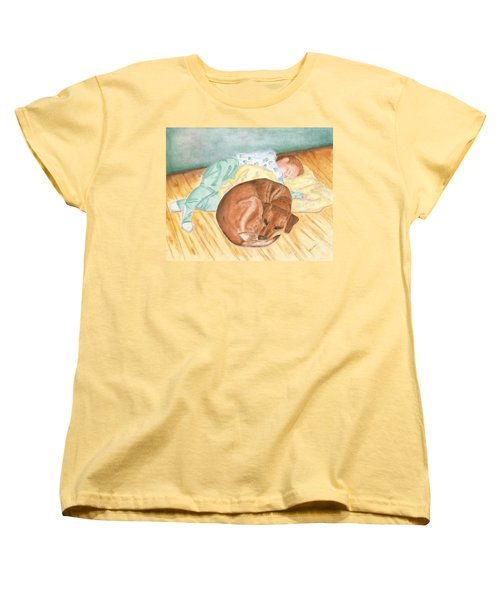 Women's T-Shirt (Standard Cut) featuring the painting A Dog And Her Boy by Arlene Crafton