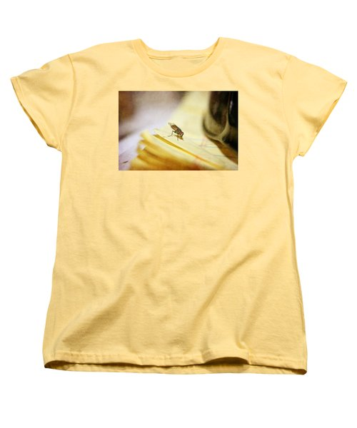 Women's T-Shirt (Standard Cut) featuring the photograph A Red Eyes Fly On The Yellow Paper by Ester  Rogers