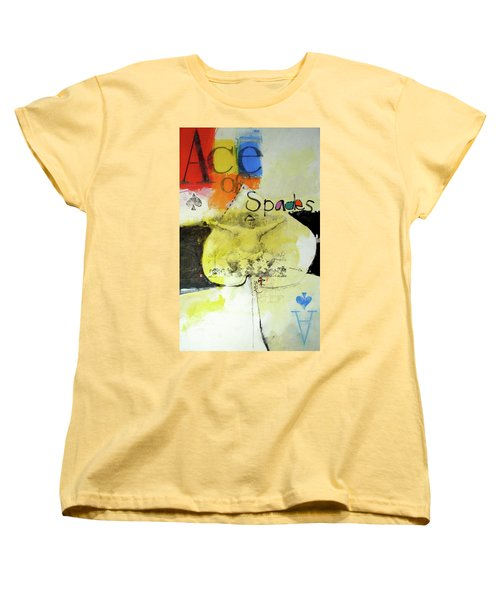 Women's T-Shirt (Standard Cut) featuring the mixed media Ace Of Spades 25-52 by Cliff Spohn