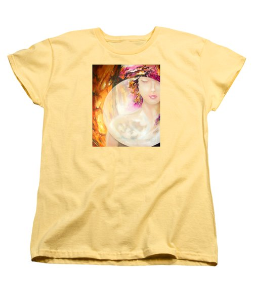 Women's T-Shirt (Standard Cut) featuring the painting Angel Luna by Michael Rock