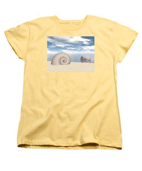 Women's T-Shirt (Standard Cut) featuring the digital art Beach Of Shells by Phil Perkins