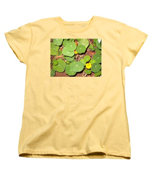 Beautiful Round Green Leaves Of A Plant With Orange Flowers Women's T-Shirt (Standard Cut) by Ashish Agarwal
