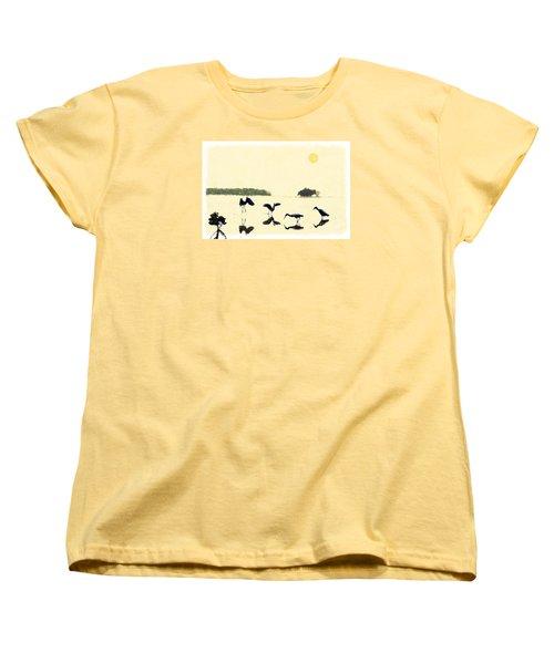 Women's T-Shirt (Standard Cut) featuring the photograph birds feeding in the Everglades by Dan Friend