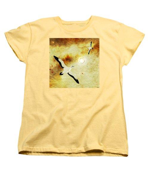 Women's T-Shirt (Standard Cut) featuring the digital art Birds Of The Sun by Phil Perkins
