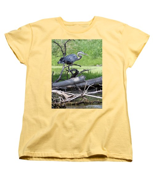 Women's T-Shirt (Standard Cut) featuring the photograph Blue Heron At The Lake by Debbie Hart
