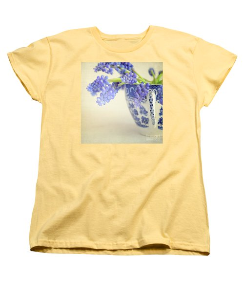 Blue Muscari Flowers In Blue And White China Cup Women's T-Shirt (Standard Cut) by Lyn Randle