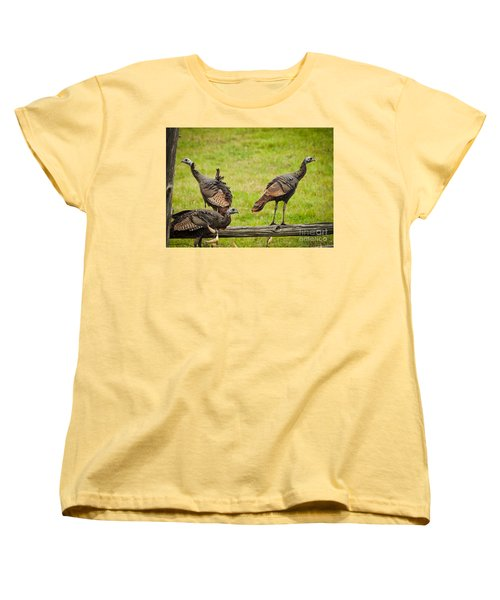 Women's T-Shirt (Standard Cut) featuring the photograph Bunch Of Turkeys by Cheryl Baxter
