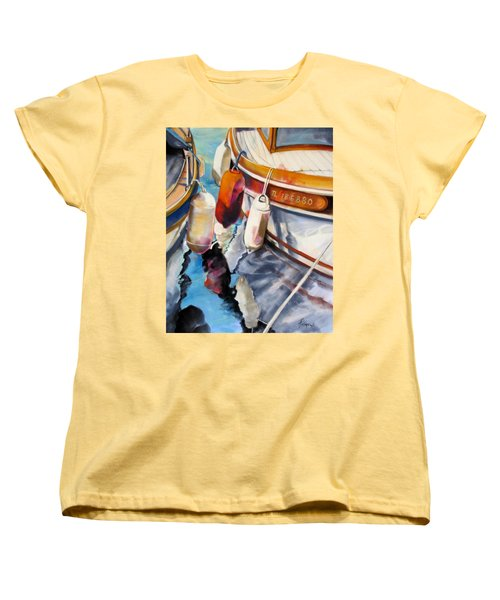 Women's T-Shirt (Standard Cut) featuring the painting Cassis Castaways by Rae Andrews