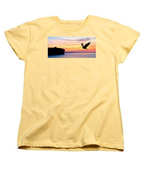 Women's T-Shirt (Standard Cut) featuring the photograph Eagle Sunrise by Randall Branham