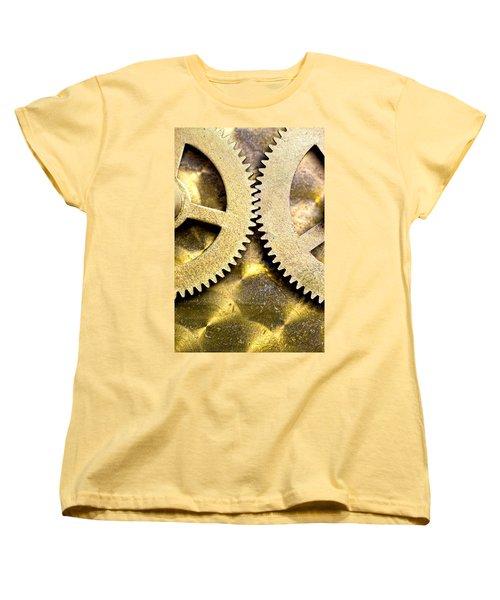 Women's T-Shirt (Standard Cut) featuring the photograph Gears From Inside A Wind-up Clock by John Short