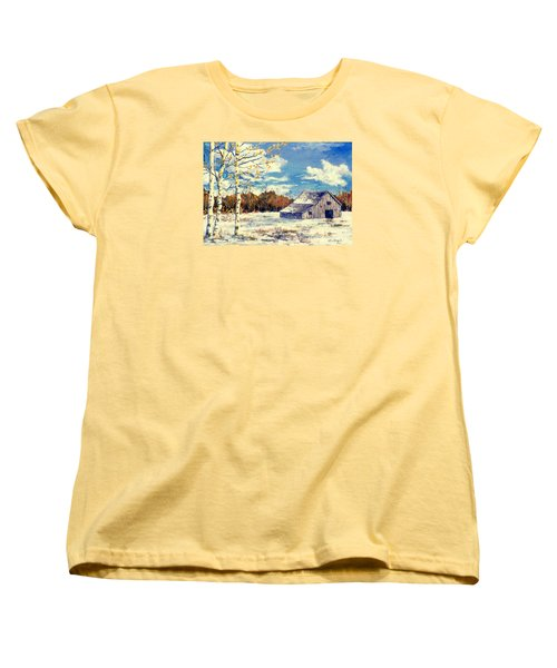 Women's T-Shirt (Standard Cut) featuring the painting Grandma's Barn by Lou Ann Bagnall