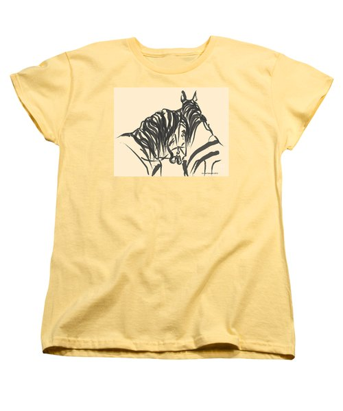 Women's T-Shirt (Standard Cut) featuring the painting Horse - Together 9 by Go Van Kampen