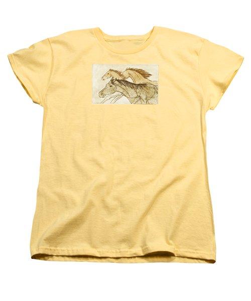 Women's T-Shirt (Standard Cut) featuring the drawing Horse Sketch by Nareeta Martin