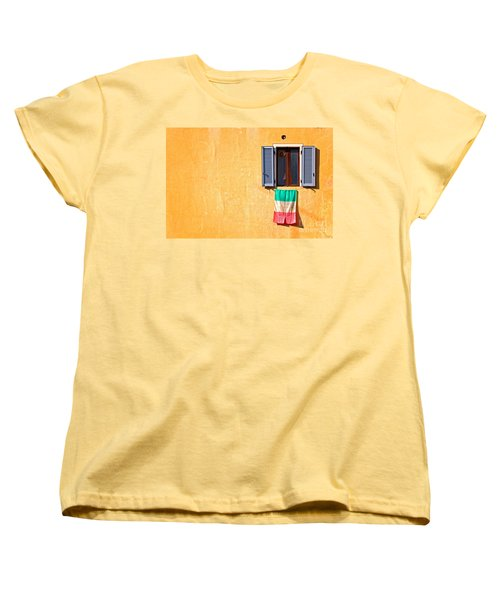 Italian Flag Window And Yellow Wall Women's T-Shirt (Standard Cut) by Silvia Ganora