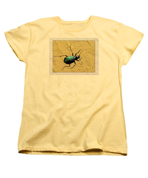 Women's T-Shirt (Standard Cut) featuring the photograph Jeweltone Beetle by Debbie Portwood