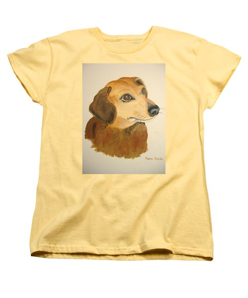 Women's T-Shirt (Standard Cut) featuring the painting Lovable Dachshund by Norm Starks