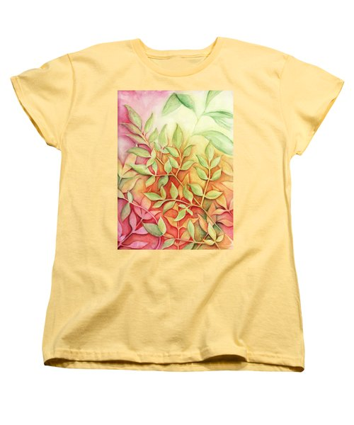 Women's T-Shirt (Standard Cut) featuring the painting Nandina Leaves by Carla Parris