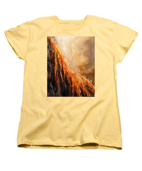 Women's T-Shirt (Standard Cut) featuring the painting Quite Eruption by Karen  Ferrand Carroll