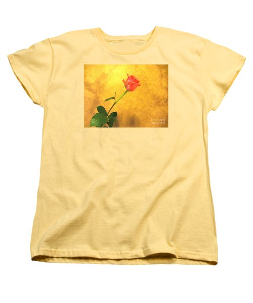 Women's T-Shirt (Standard Cut) featuring the photograph Rose On Leather by Susan Carella