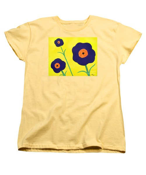 Women's T-Shirt (Standard Cut) featuring the painting Sky High Flowers by Alys Caviness-Gober