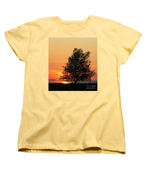 Sunset Square Women's T-Shirt (Standard Cut) by Angela Rath