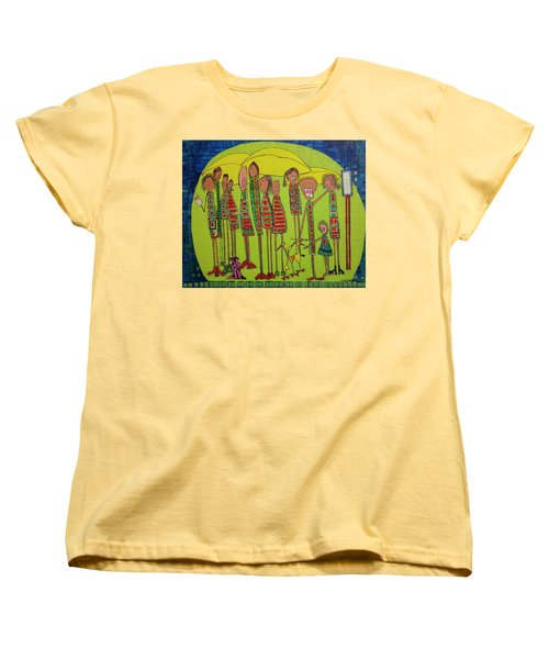 Women's T-Shirt (Standard Cut) featuring the painting The Spotted Duck by Donna Howard