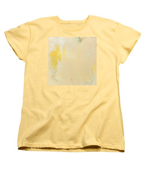 Untitled Abstract - Bisque With Yellow Women's T-Shirt (Standard Cut) by Kathleen Grace