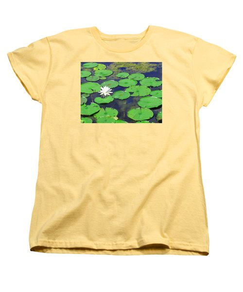 Water Lily Women's T-Shirt (Standard Cut) by Clara Sue Beym