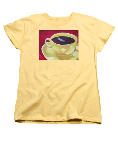 Yellow Cup On Red Women's T-Shirt (Standard Cut) by Patricia Cleasby