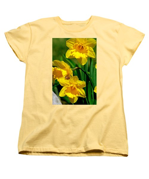 Women's T-Shirt (Standard Cut) featuring the photograph Yellow Daffodils And Honeybee by Kay Novy