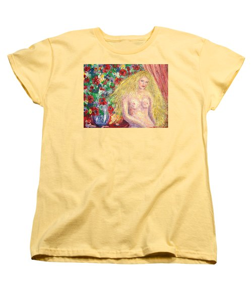 Women's T-Shirt (Standard Cut) featuring the painting  Nude Fantasy by Natalie Holland