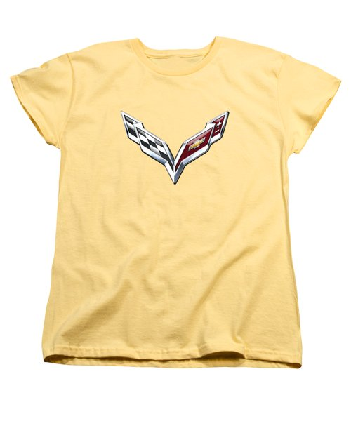 Chevrolet Corvette 3d Badge On Yellow Women's T-Shirt (Standard Cut) by Serge Averbukh