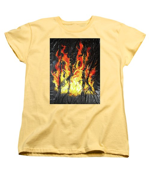 Women's T-Shirt (Standard Cut) featuring the mixed media Fire Too by Angela Stout
