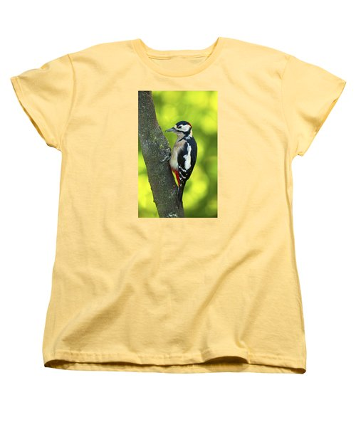 Women's T-Shirt (Standard Cut) featuring the photograph Great Spotted Woodpecker by Paul Scoullar
