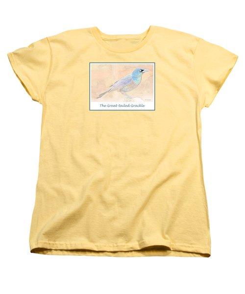 Women's T-Shirt (Standard Cut) featuring the digital art Great Tailed Grackle by A Gurmankin