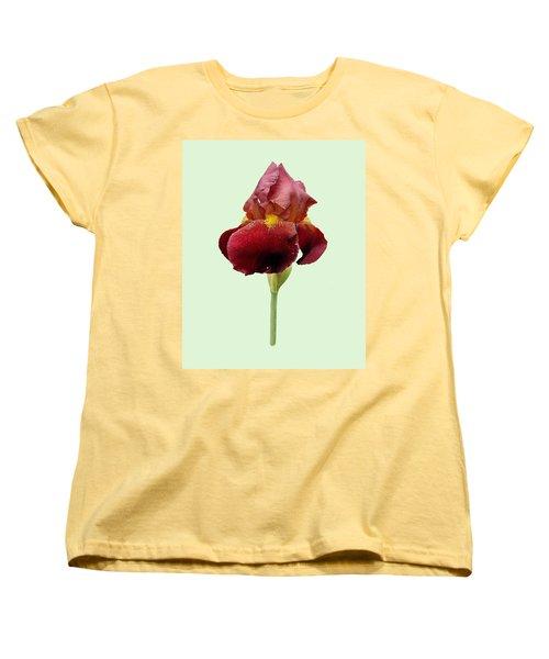 Women's T-Shirt (Standard Cut) featuring the photograph Iris Vitafire Green Background by Paul Gulliver